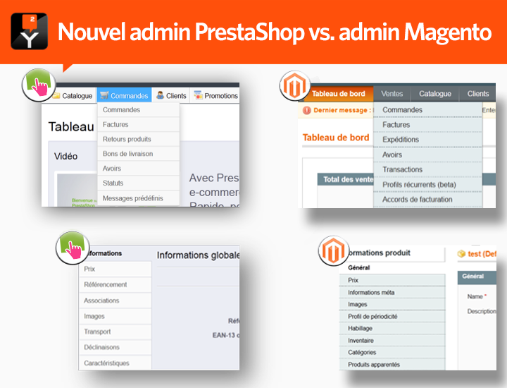 Nouvelle interface d'administration PrestaShop vs. administration Magento